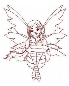 Sad fairy embroidery design 4