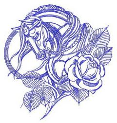 Sad horse and rose embroidery design