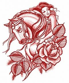 Sad horse with horsewoman embroidery design