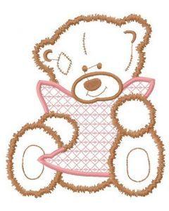 Sad teddy applique embroidery design