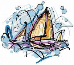 Sailboats embroidery design