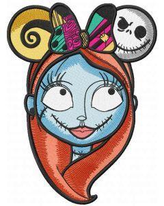 Sally mickey ears embroidery design