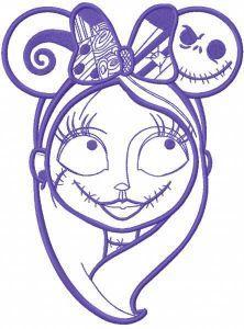 Sally mickey ears one colored embroidery design