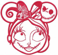 Sally mickey mouse ears one color embroidery design