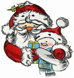 Santa and snowman 3 embroidery design