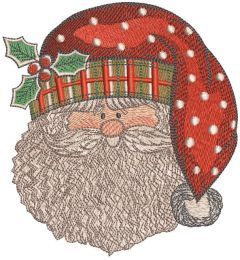 Santa Claus happy face embroidery design