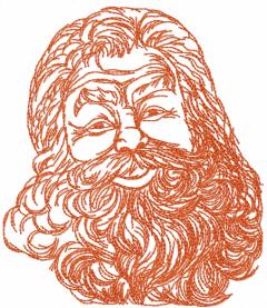 Santa one colored free embroidery design