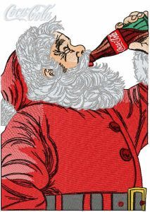 Santa drink coca cola embroidery design