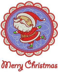 Santa skating badge embroidery design