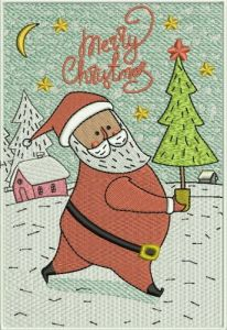 Santa with fir-tree embroidery design