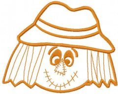 Scarecrow head one colored free embroidery design