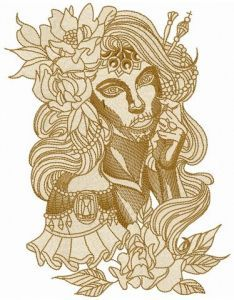Scary spanish beauty embroidery design