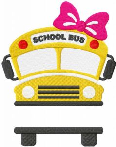 School bus with girl embroidery design