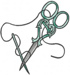 Scissors and needle embroidery design