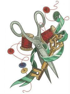 Scissors, ribbon, key and threads embroidery design
