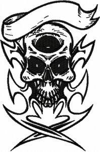 Pirate scull free machine embroidery design