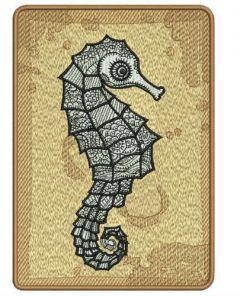 Sea horse machine embroidery design 2