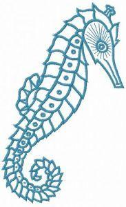 Sea horse embroidery design 6