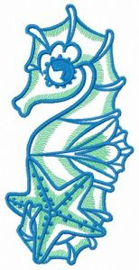 Sea horse and star 2 embroidery design