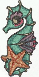 Sea horse and star embroidery design
