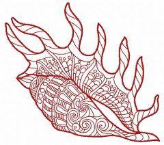 Sea shell machine embroidery design 10