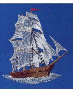 Sea ship embroidery design