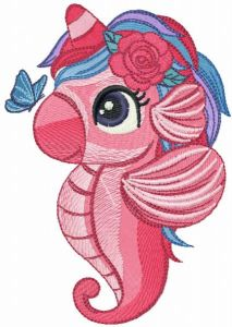 Sea unicorn and butterfly embroidery design