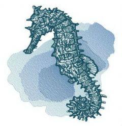 Seahorse at sea depth embroidery design
