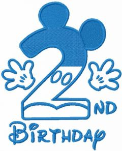 Second birthday mickey blue color embroidery design