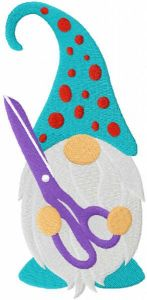 Sewing gnome with scissors embroidery design