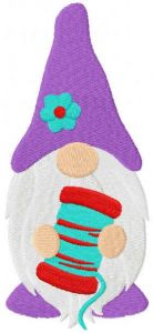 Sewing gnome with thread bobbin embroidery design
