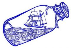 Ship in the bottle machine embroidery design 3