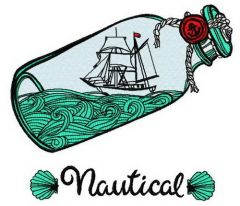 Ship in the bottle machine embroidery design