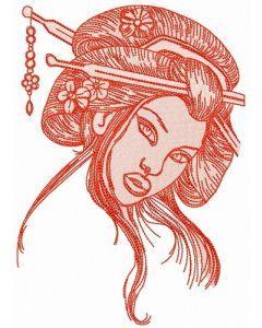 Shy geisha 7 embroidery design