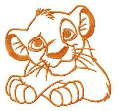 Simba's thoughts embroidery design