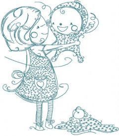 Sister and brother embroidery design