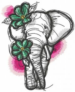 Sketch Elephant with flowers embroidery design