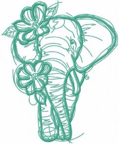 Sketch Elephant with flowers one colored embroidery design