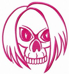 Skull with hair embroidery design