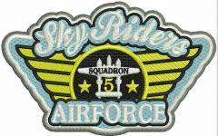 Sky Riders Airforce embroidery design