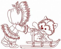 Sledging with puppy embroidery design 2