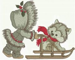 Sledging with puppy embroidery design