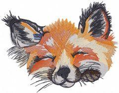 Sleeping fox muzzle embroidery design