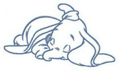 Sleeping little Dumbo embroidery design