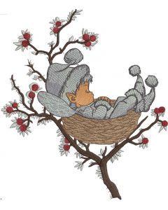 Sleeping winter elf embroidery design