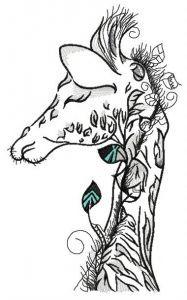 Sleepy giraffe embroidery design