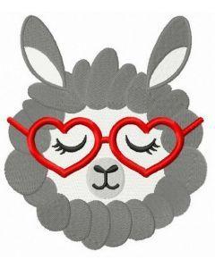 Sleepy llama embroidery design