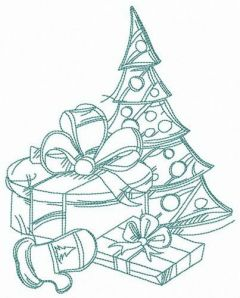 Small Christmas tree embroidery design 2