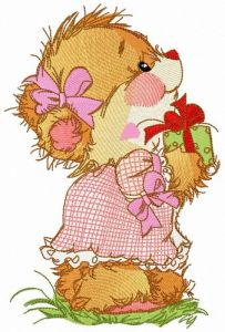 Small gift for adorable bear embroidery design