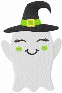 Smiling ghost with hat free embroidery design